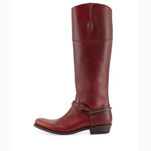 Frye Leather Spur Leather Knee Boot Burnt Red